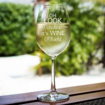 "Personalised Engraved Bar ware Housewarming ""oh look its wine o'clock"" wine glass gift"