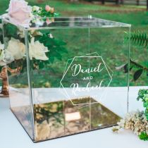Custom designed engraved clear acrylic wedding wishing well and card box