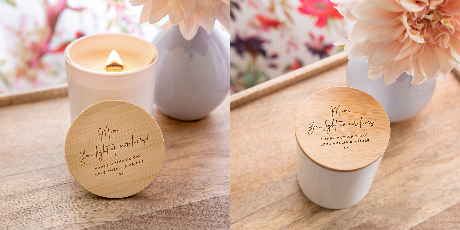 Engraved Mother's Day White Wood Wick Soy Candle with Wooden Lid